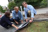 HEAG mobilo-Geschäftsführer Michael Dirmeier und Darmstadts Umweltdezernentin Barbara Akdeniz (Mitte) mit Karin Lübbe vom Umweltamt der Stadt Darmstadt betrachten den Schichtaufbau des neuen Sedumgleises.