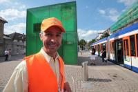 Einstiegslotse der HEAG mobilo am Hauptbahnhof