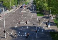 Eine Visualisierung zeigt, wie die Haltestelle Hochschulstadion und der Kreuzungsbereich zukünftig aussehen sollen.