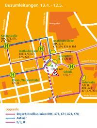 Die Umleitung der Stadt- und Regionalbusse von 13. April bis 12. Mai 2019