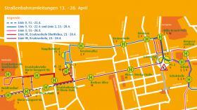 Die Umleitung der Straßenbahnen von 13. bis 28. April 2019.